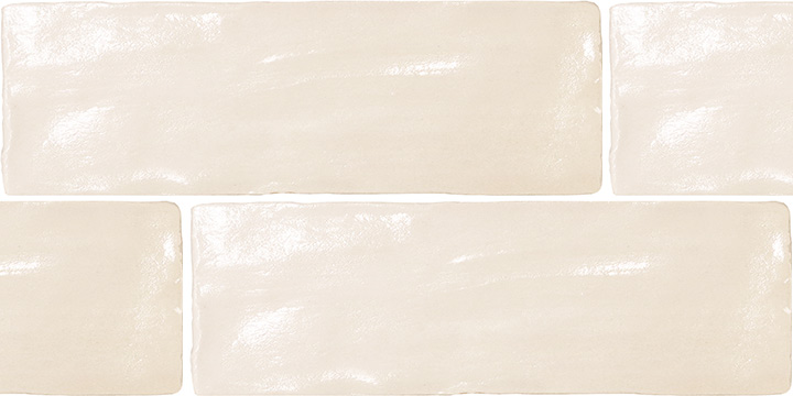 Mallorca Cream 6.5x20. Handmade and painted look wall tile.
