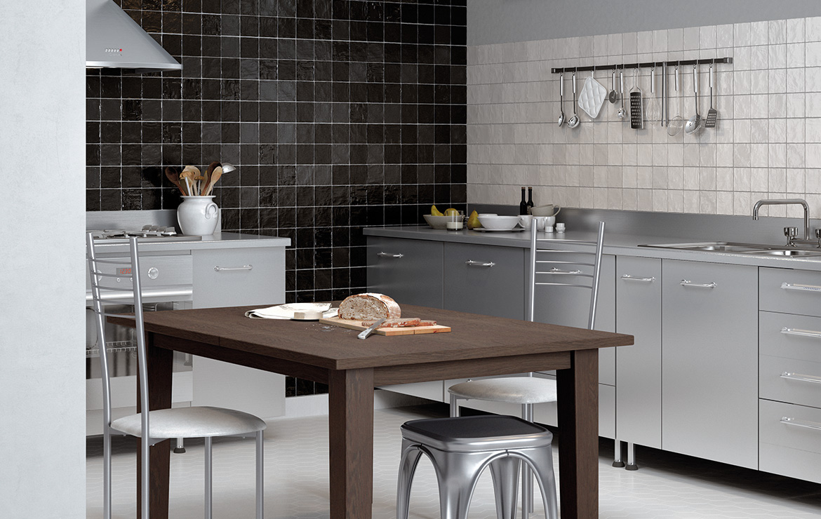 Modern style kitchen interior design with Mallorca Black and White 10x10 handmade look wall tile.