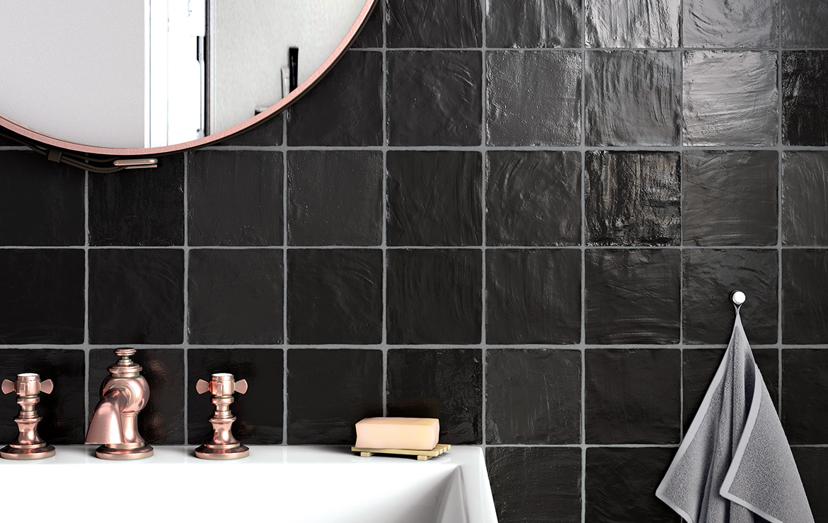 Old style bathroom interior design with Mallorca Black 10x10 handmade look wall tile.