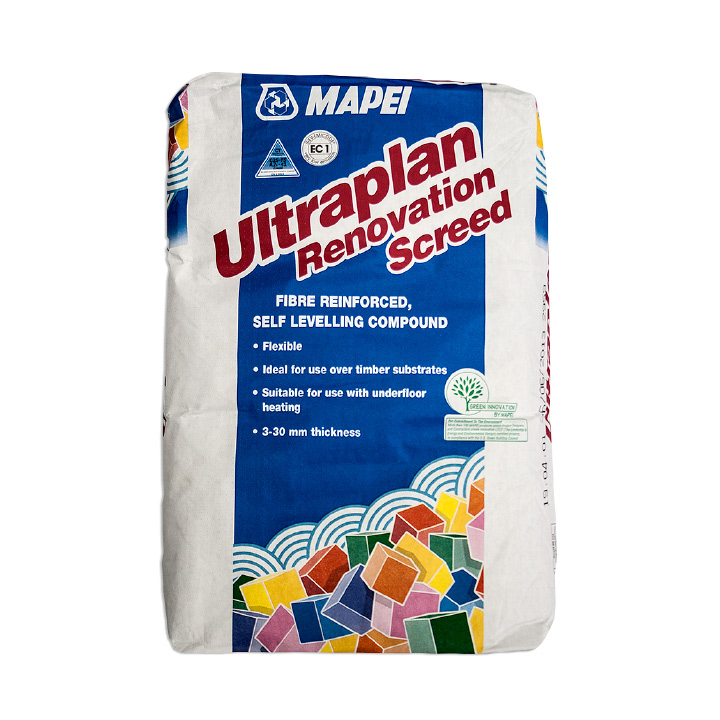 Mapei Ireland tile fixing solutions. Ultraplan Renovation Screed self-levelling compound for underfloor heating.