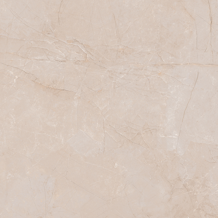 Metissage Crema 60x60. High gloss finish large format stone look bathroom floor tile.