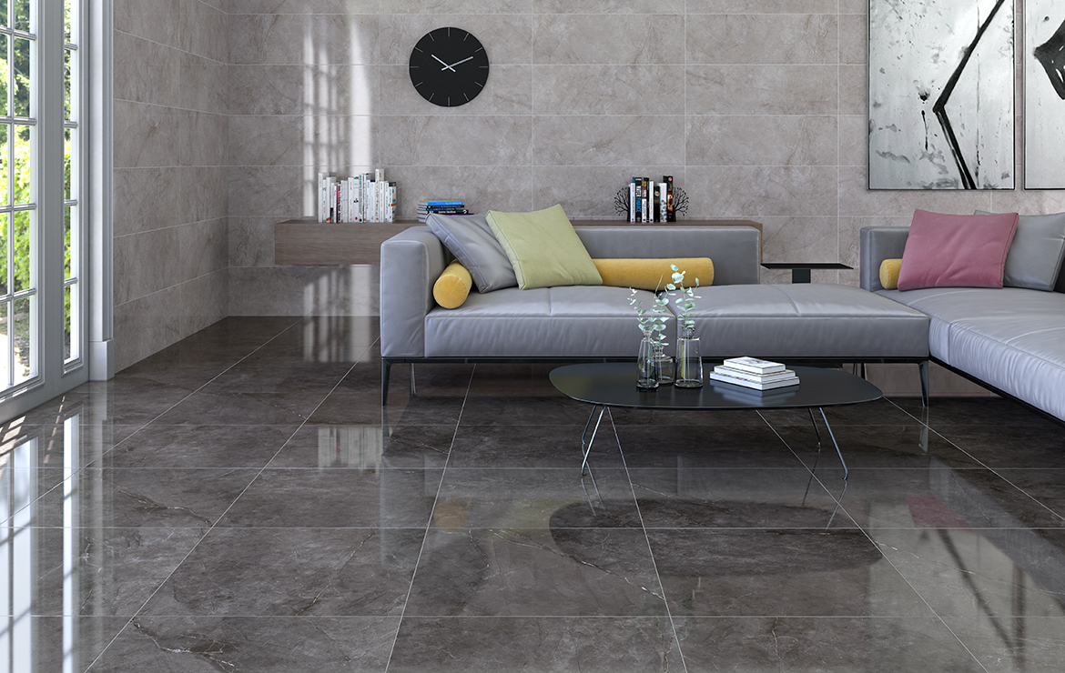 Modern style living room interior design with high gloss finish wall and floor tiles Metissage Perla 33x100, Grafito 60x60.