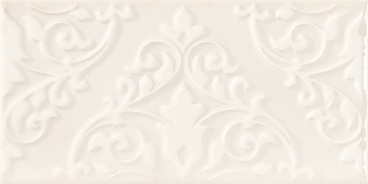 Cromatica Kleber Ivory 25x75. Large format 3D effect decorative glossy bathroom wall tile.