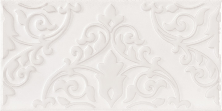 Cromatica Kleber White 25x75. Large format 3D effect decorative glossy bathroom wall tile.