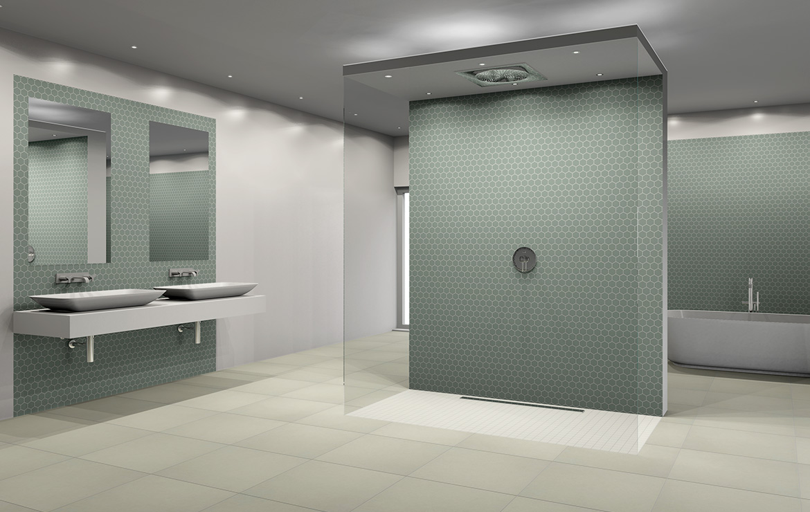 Large bathroom interior design with white glossy tiles and green hexagonal mosaics.