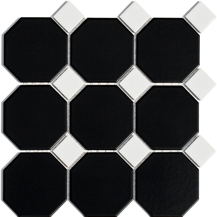 Octagonal Black With White 32x32. Mosaic tile