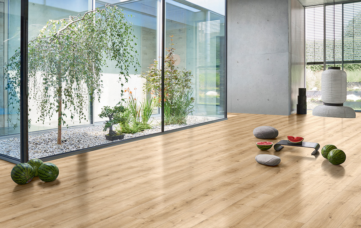 Living room interior design with resilient wood effect flooring Parador Module One Pure Light Oak 2200x235x8mm.