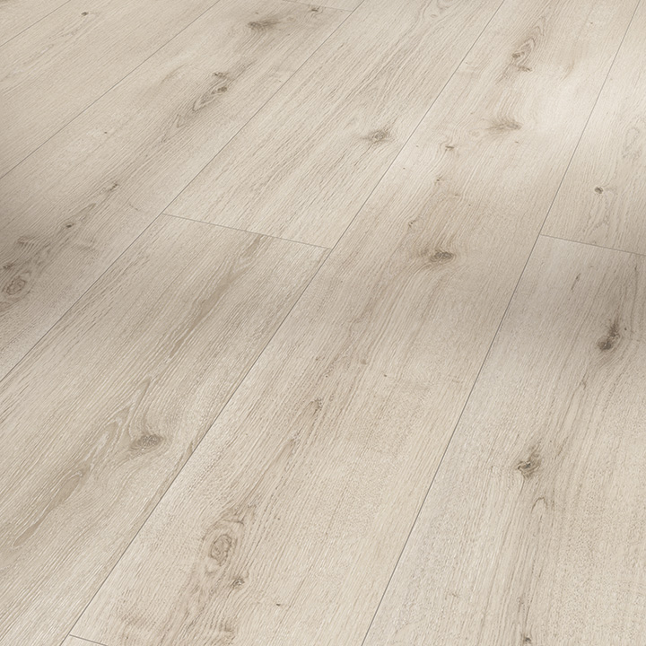 Parador Modular One Urban White Limed Oak 2200x235x8mm. Resilient wood effect flooring.