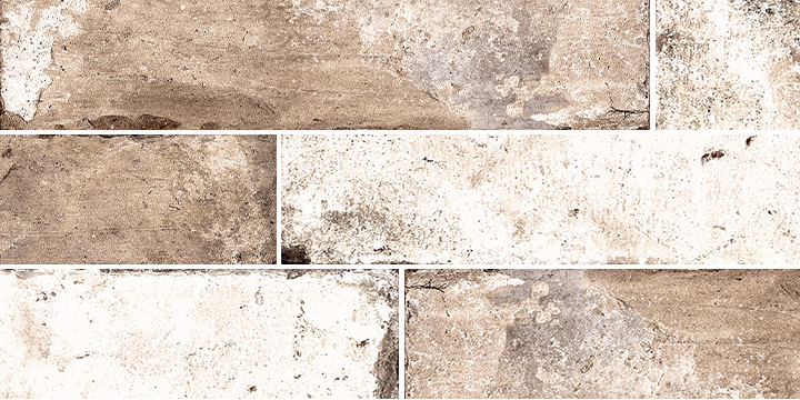 Pave Brick Bruciato 8x41. Shade and colour variation vintage and brick effect porcelain wall and floor tile.