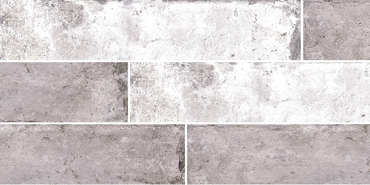 Pave Brick Cenere 8x41. Shade and colour variation vintage and brick effect porcelain wall and floor tile.