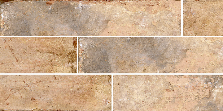 Pave Brick Cotto 8x41. Shade and colour variation vintage and brick effect porcelain wall and floor tile.