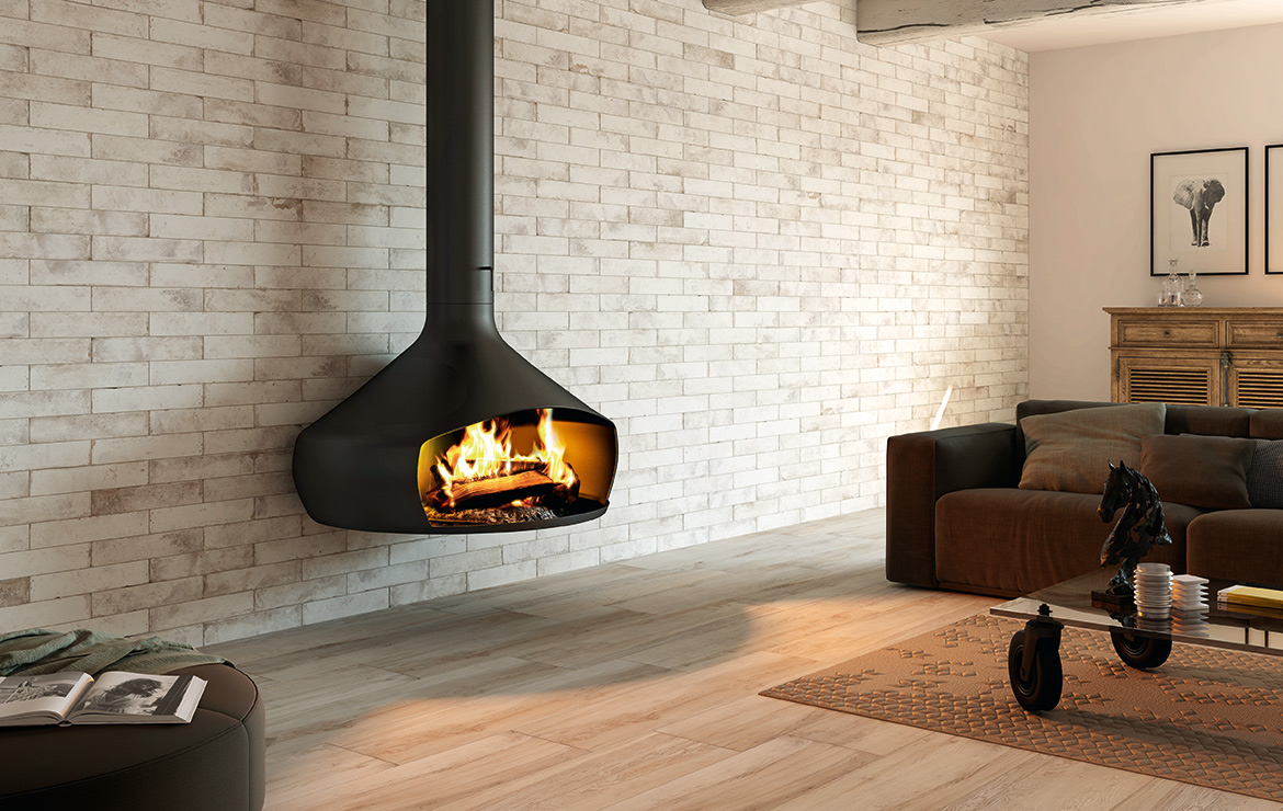 Vintage style wall design behind suspended / hanging fireplace with brick effect tiles - Pave Brick Sbiancato 8x41.
