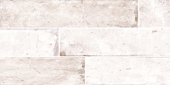 Pave Brick Sbiancato 8x41. Shade and colour variation vintage and brick effect porcelain wall and floor tile.