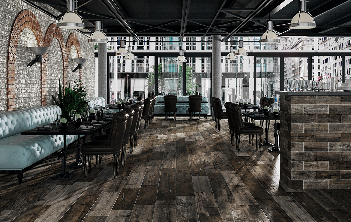 Vintage style restaurant interior design with old wood look porcelain tiles - Retro Country 22x84.