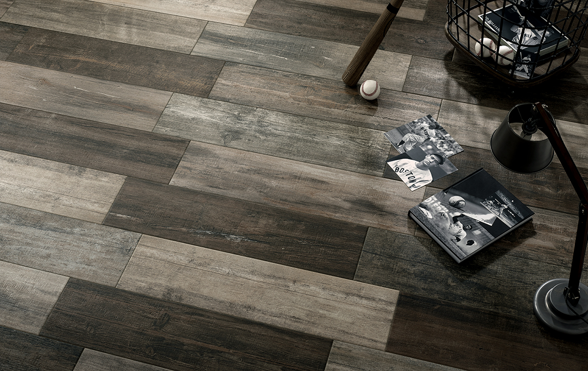 Aged wooden floor design with old wood look porcelain tiles - Retro Country 22x84.