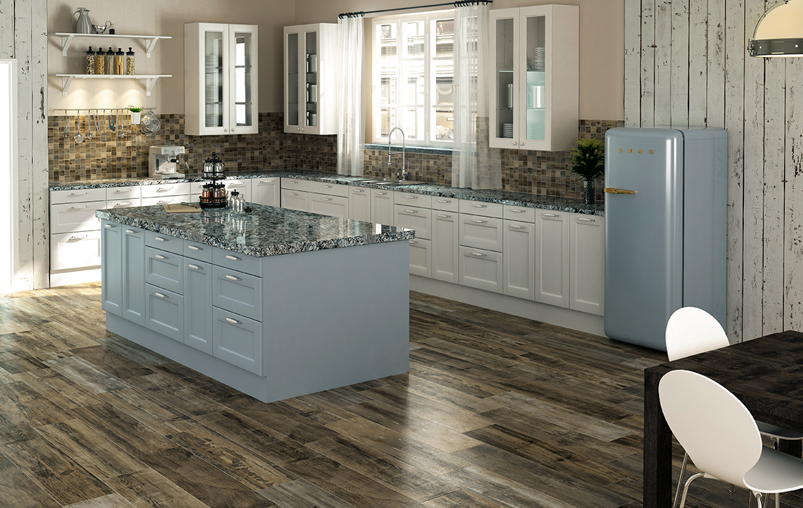 Country style kitchen interior design with old wood look porcelain tiles - Retro Nature 22x84.