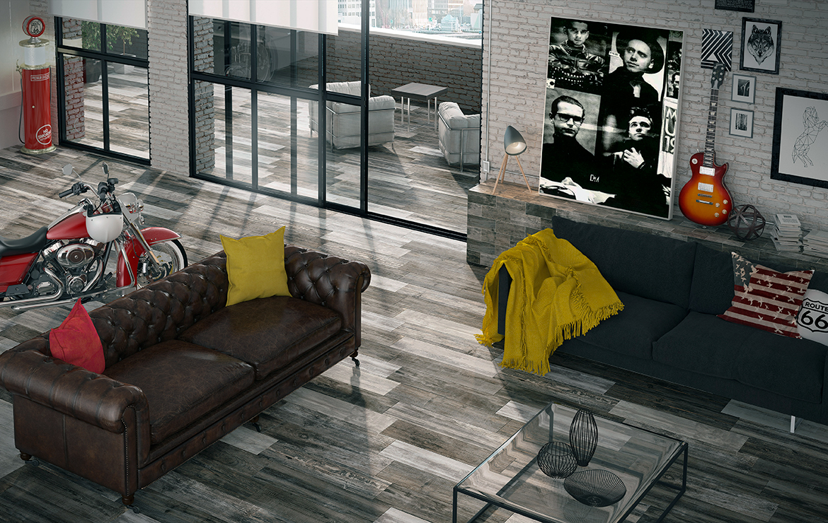 Old school style living room interior design with old wood look porcelain tiles - Retro Deep 22x84.