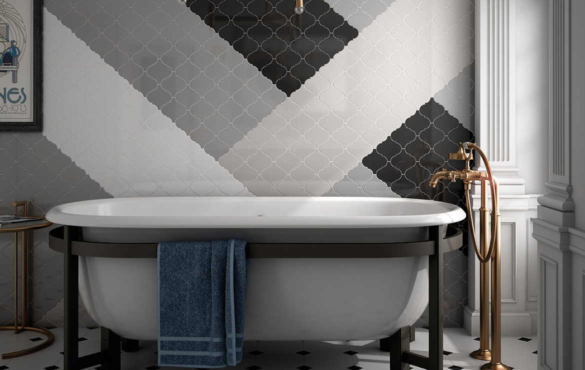 Vintage style bathroom interior design with Scale Alhambra White, Light Grey, Dark Grey and Black 12x12 wall tiles.