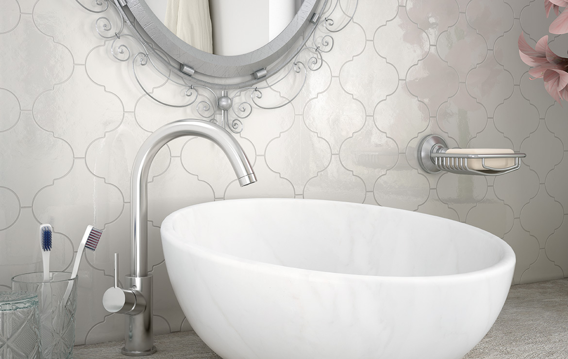 Retro style bathroom interior design with Scale Alhambra Light Grey 12x12 wall tiles.