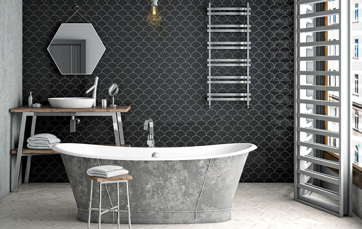Vintage style bathroom interior design with Scale Black 10.6x12 wall tiles.