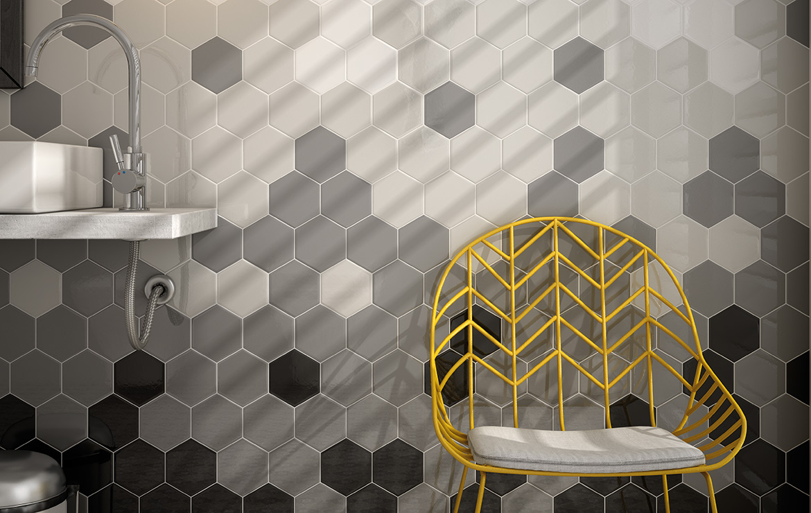 Modern style bathroom interior design with Scale Hexagon White, Light Grey, Dark Grey and Black vintage look hexagonal wall tiles.