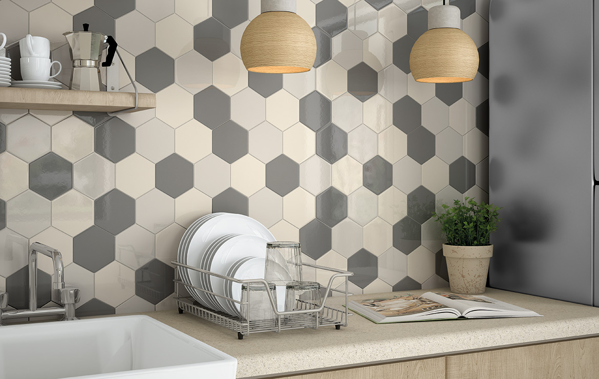 Modern style kitchen interior design with Scale Hexagon Ivory, Light and Dark Grey vintage look hexagonal wall tiles.