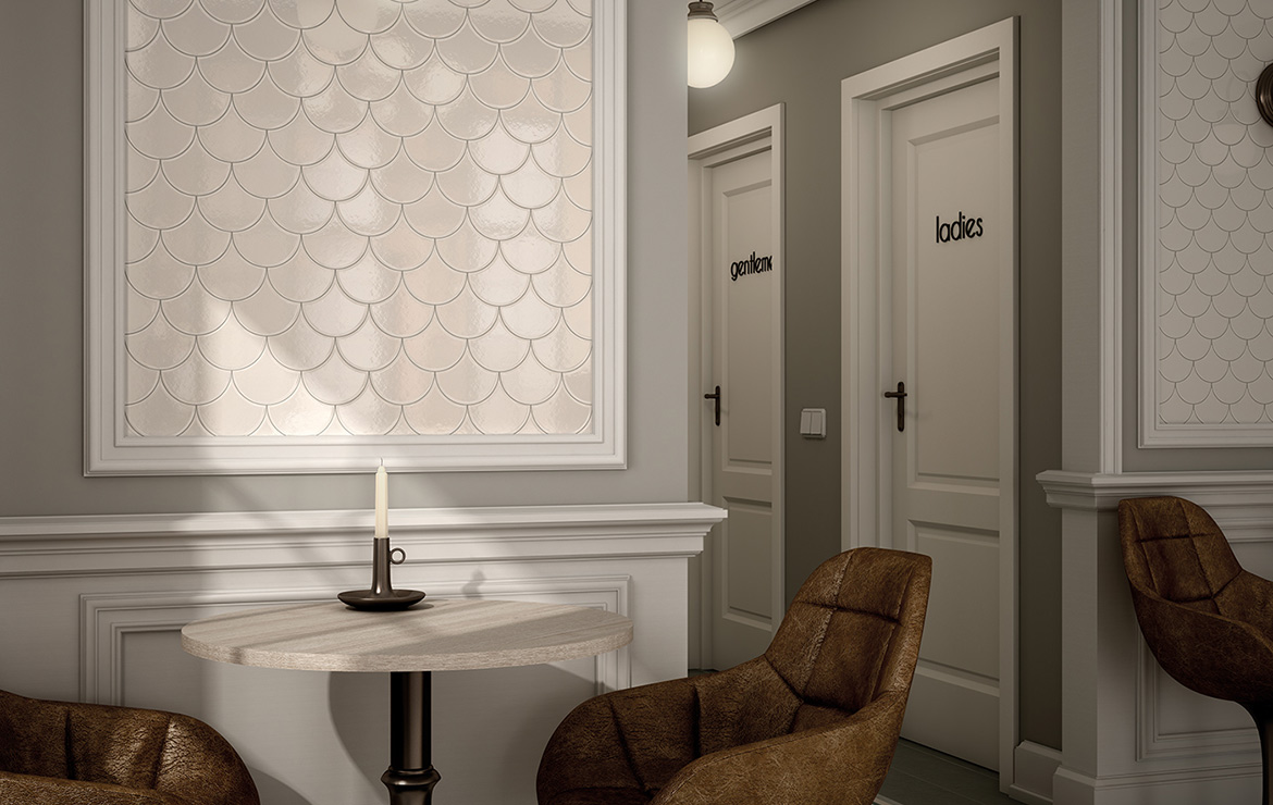 Vintage style hotel restaurant interior design with Scale Fan Ivory wall tiles.