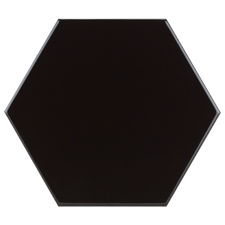 Scale Hexagon Black 10.7x12.4. Vintage style and look hexagonal wall tile for bathrooms and kitchen splashbacks.