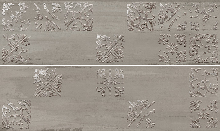 Sospiro Artisan A B Smoke 29x100. Patterned wall decor tiles.