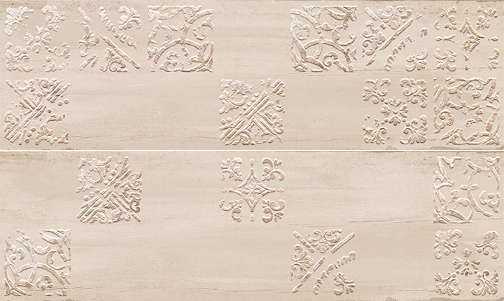 Sospiro Artisan A B Taupe 29x100. Patterned wall decor tiles.