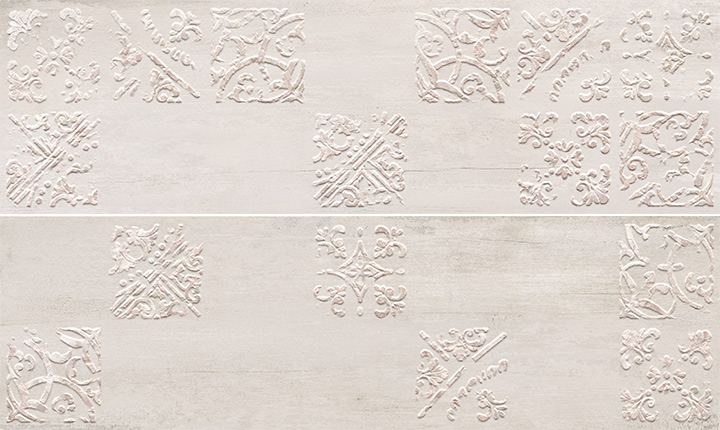 Sospiro Artisan A B White 29x100. Patterned wall decor tiles.