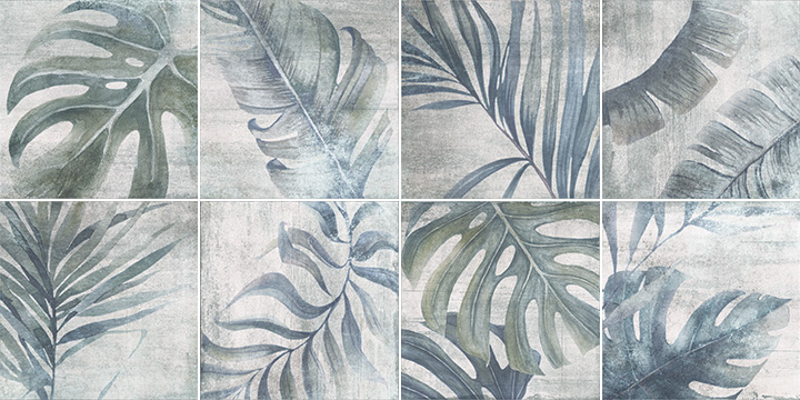 Sospiro Boreal White 20x20. Plant leaf patterned decor tiles.