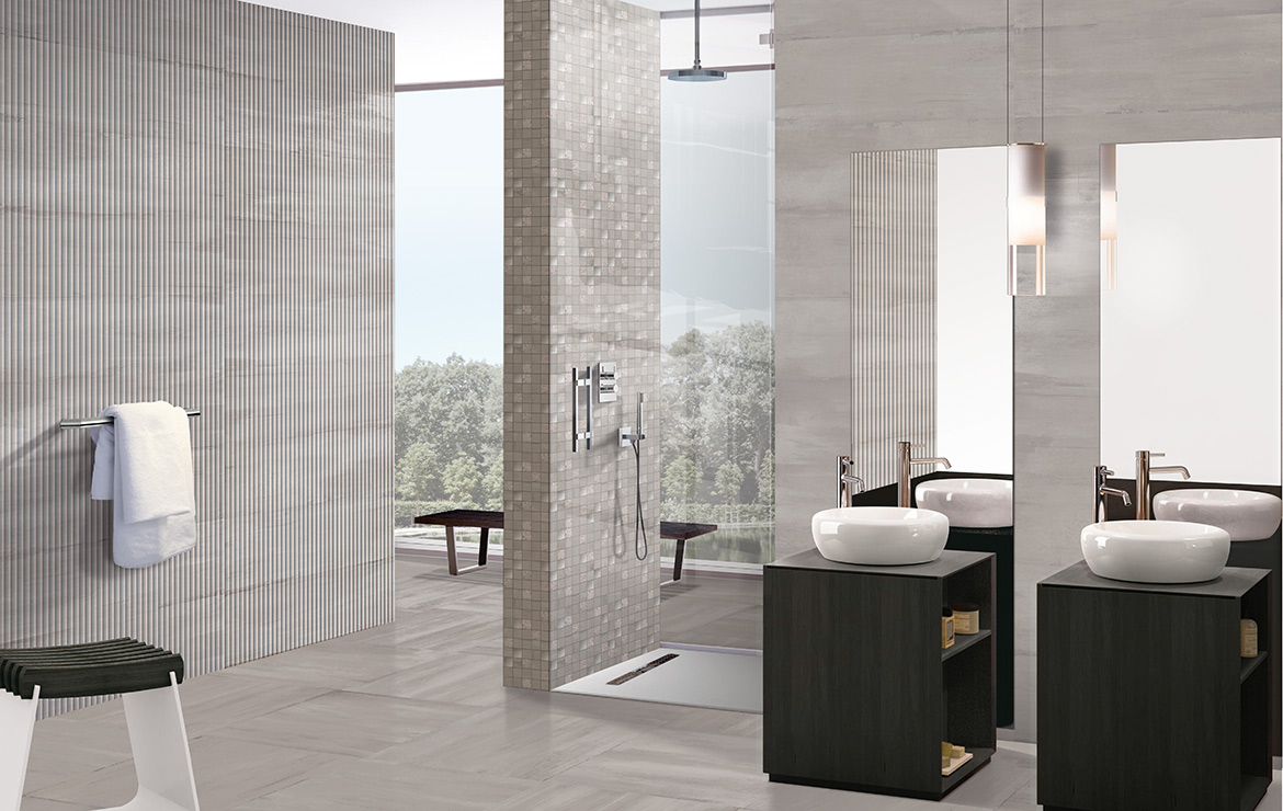 Modern style bathroom interior design with shaded and patterned wall and floor tiles - Sospiro Vento Smoke.
