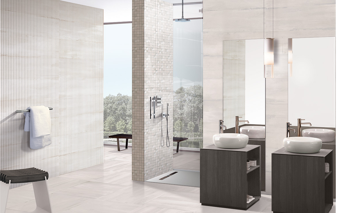 Modern style bathroom interior design with shaded and patterned wall and floor tiles - Sospiro Vento White.