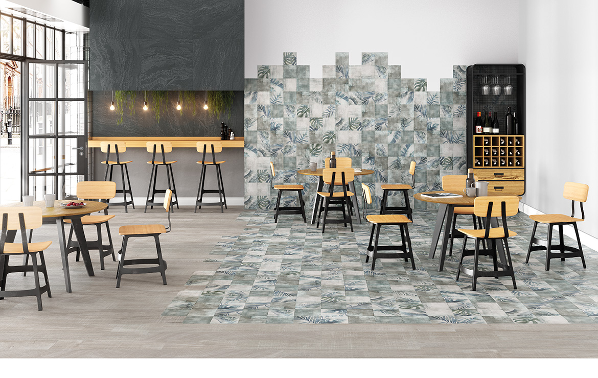 Modern style caffe bar interior design with shaded and patterned wall and floor tiles - Sospiro Boreal Bind White.