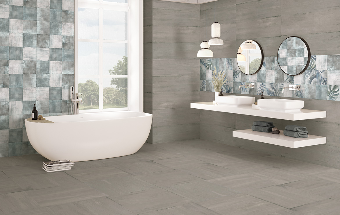 Modern style bathroom interior design with shaded and patterned wall and floor tiles - Sospiro Smoke Boreal Bind White.