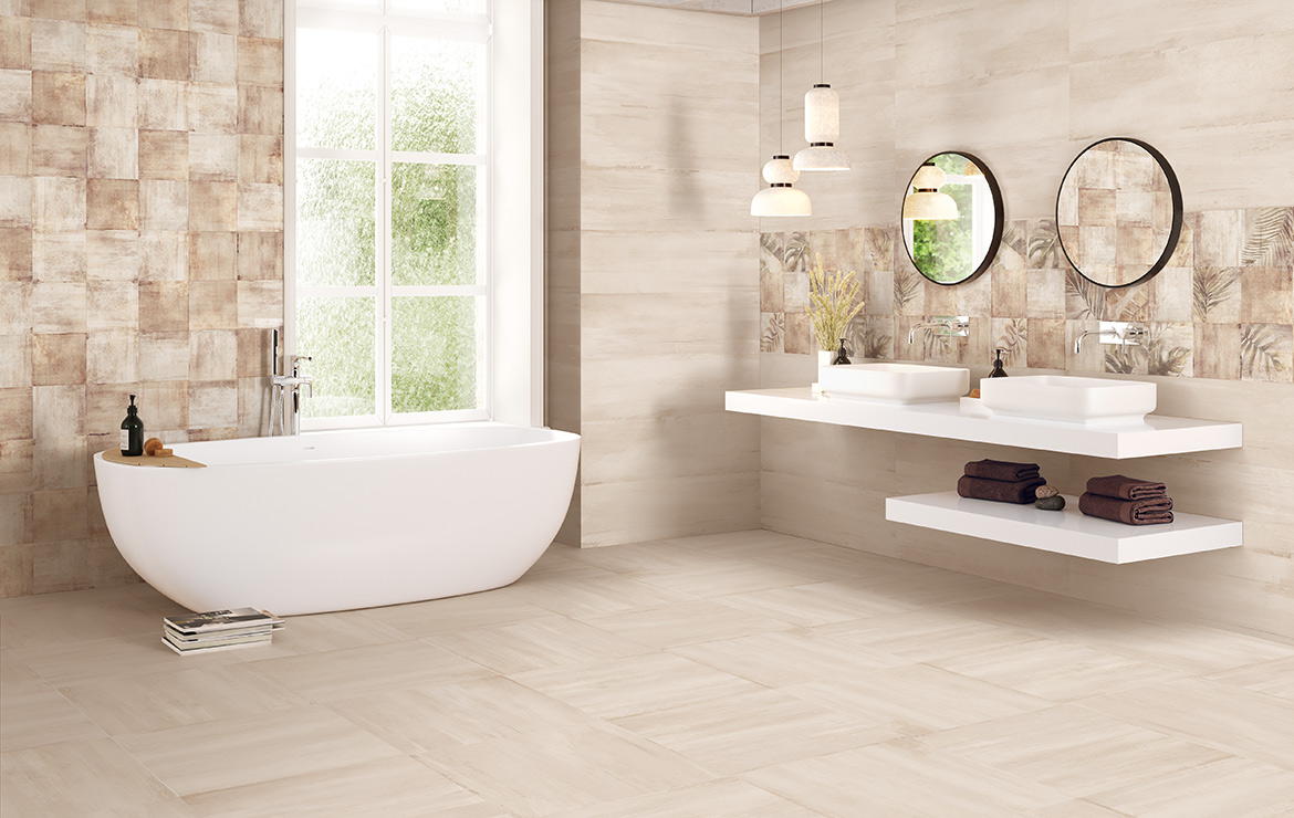 Modern style bathroom interior design with shaded and patterned wall and floor tiles - Sospiro Taupe Boreal Bind Taupe.