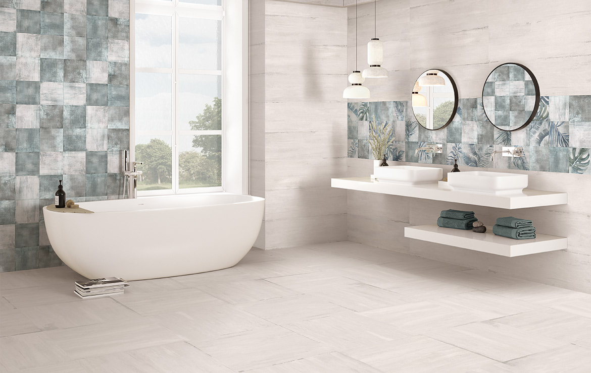 Modern style bathroom interior design with shaded and patterned wall and floor tiles - Sospiro White Boreal Bind White.