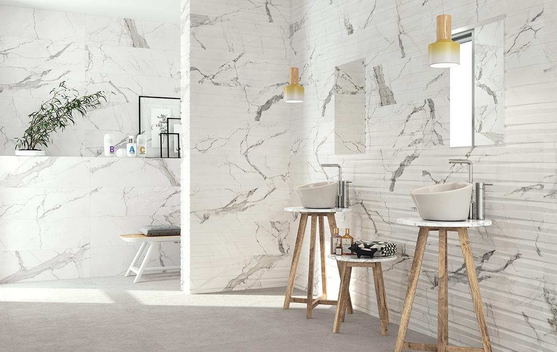 Statuario 30x90 60x60 White Marble Look Bathroom Glossy And Matt Finish Wall And Floor Tiles