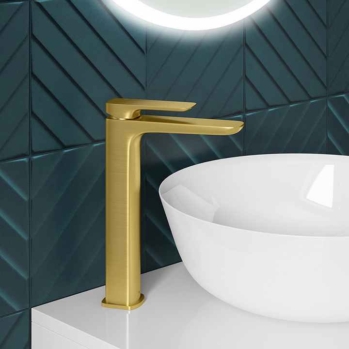Tall basin tap - Pure Brushed Brass