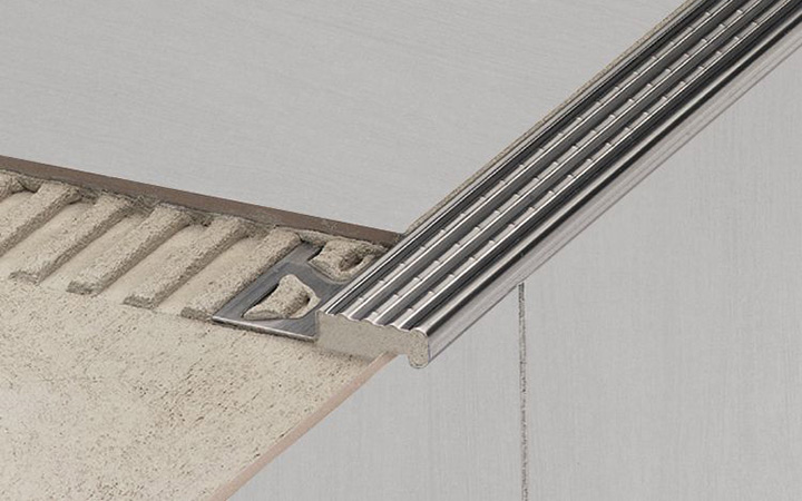 Schluter Systems in Ireland tile accessories. Trep E stair edge protection profile.
