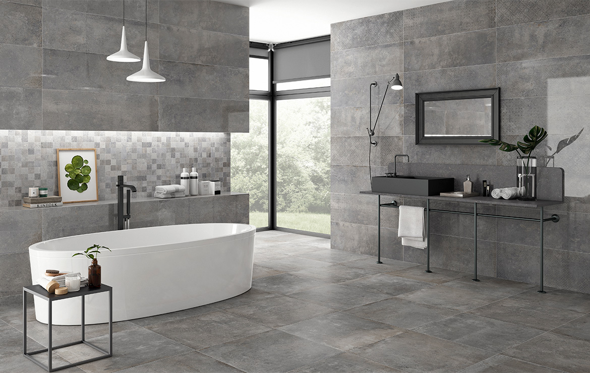 Modern style bathroom interior design with retro stone look wall and floor tiles - Universe and Edison Grey 30x60 / 60x60.