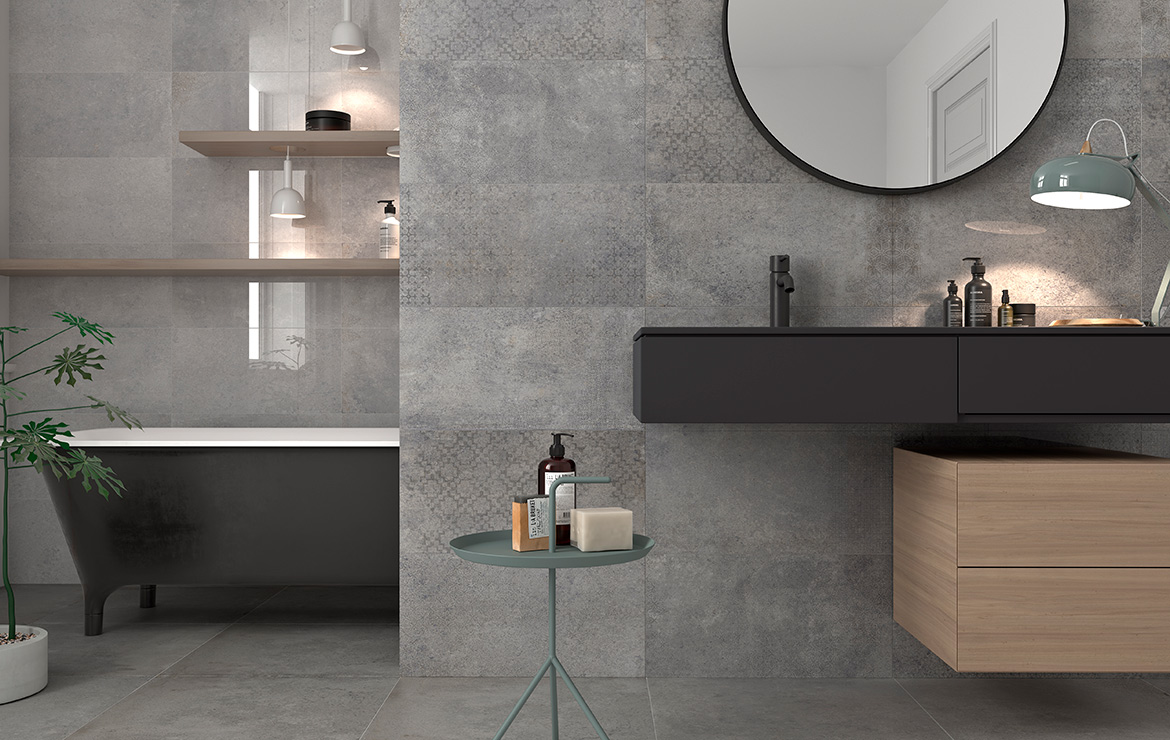 Modern style bathroom interior design with old stone look high gloss wall and floor tiles - Universe and Edison Grey 30x60 / 60x60.