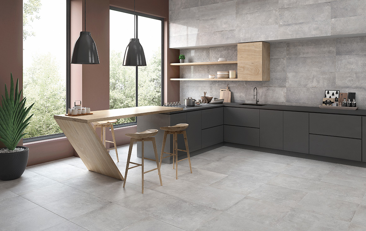 Modern style kitchen interior design with vintage stone look high gloss wall and floor tiles - Universe and Edison Light 30x60 / 60x60.