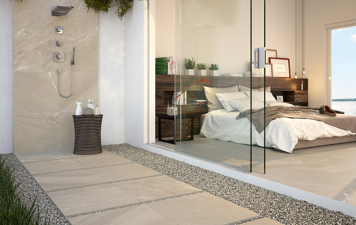 Outdoor shower made with anti-slip concrete look 20mm porcelain paving tiles. Uptown Morningside 50x100.