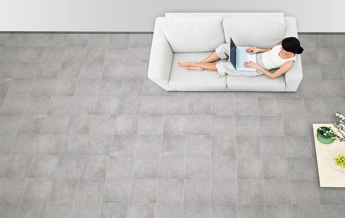 Modern style living romm floor design with stone, concrete and wood effect tiles - Urban Mix Steel 45x45