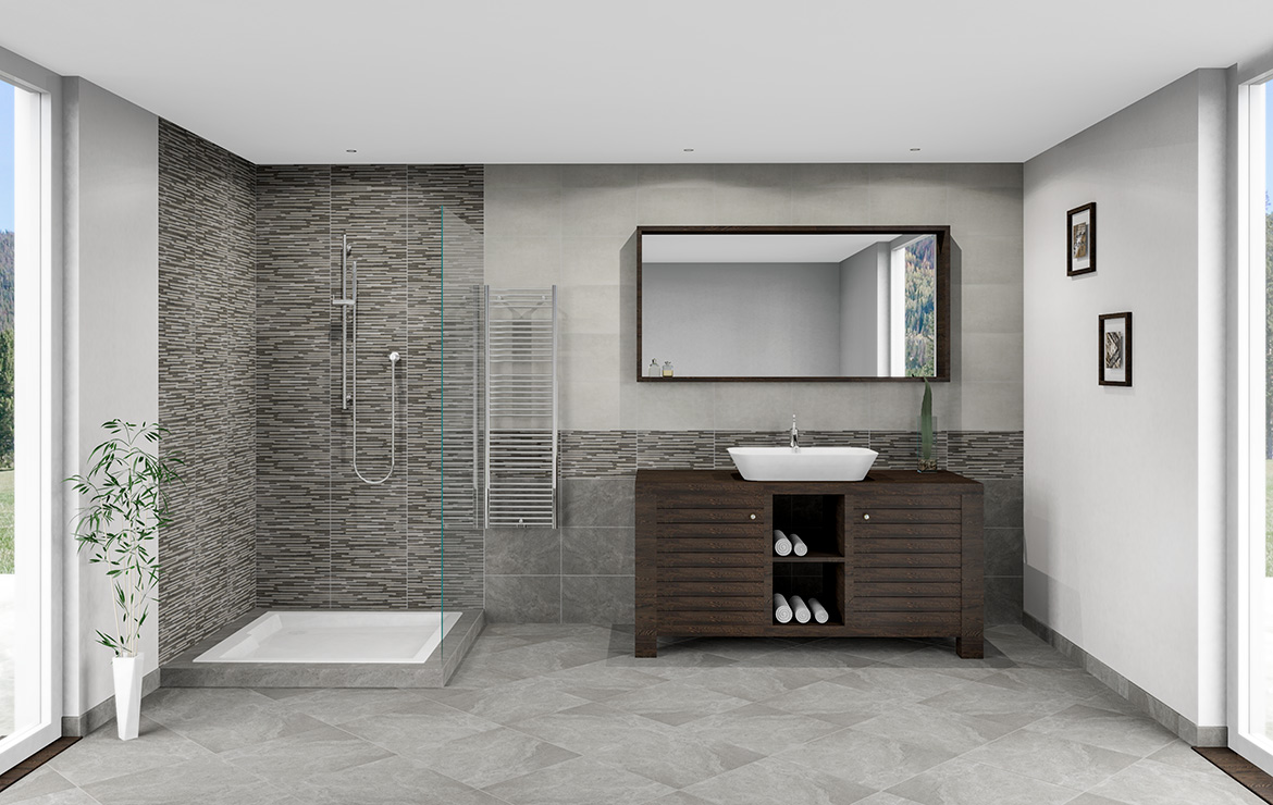 Budget bathroom interior design with brick effect wall tiles and stone, concrete and wood effect floor tiles - Urban Mix Mureto 25x40.