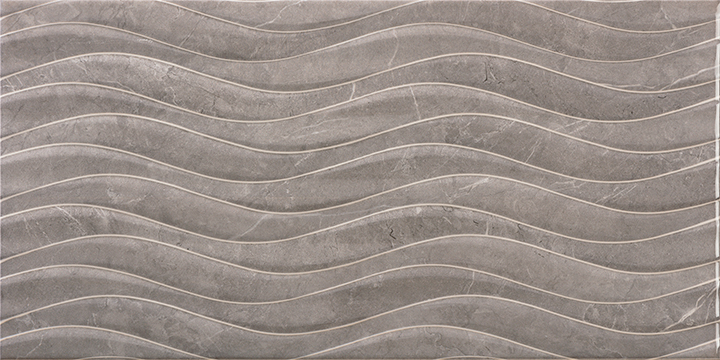 Venice Bend Gris 30x60. High gloss marble look 3D effect decorative wall tile.