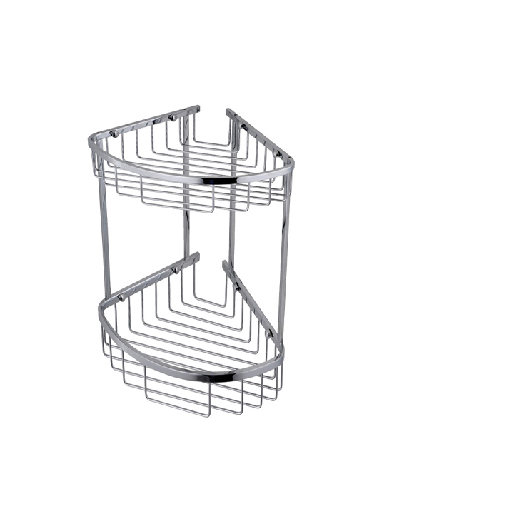 Wall mounted double triangular corner shower basket