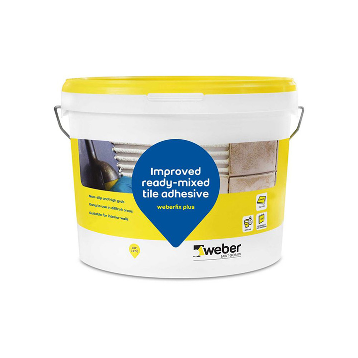 Weber Ireland tile fixing solutions. Weberfix Plus ready-mixed wall tile adhesive.